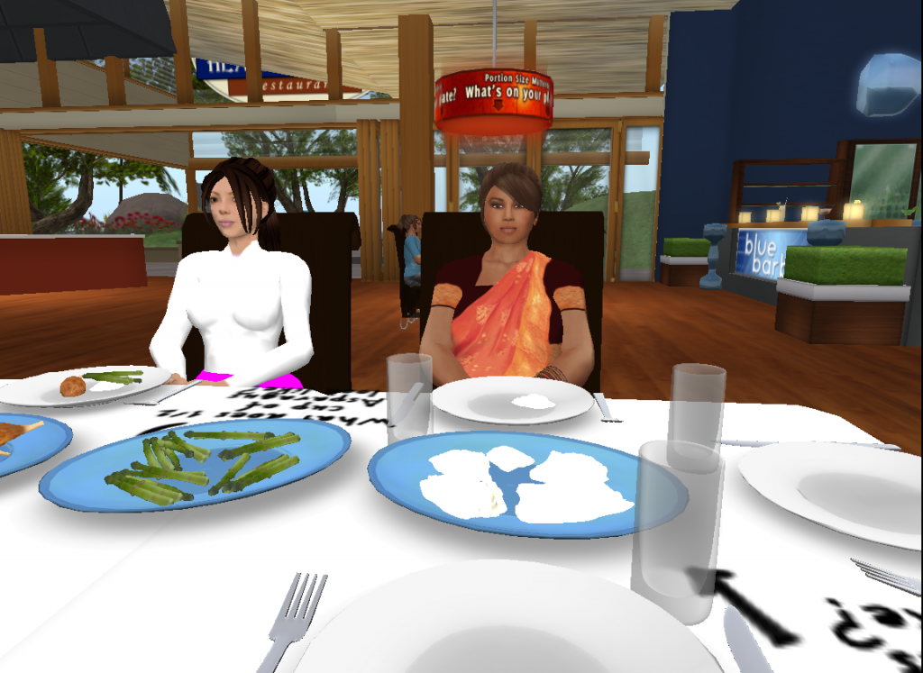 Practicing portion control at a virtual restaurant.
