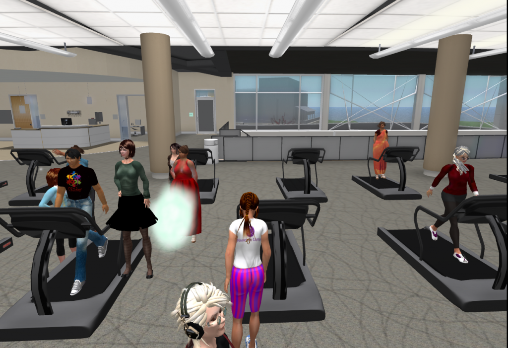 Exercising, practicing yoga, and trying pilates in a virtual gym.